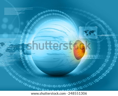 3d render of Human eye on tech background  - stock photo