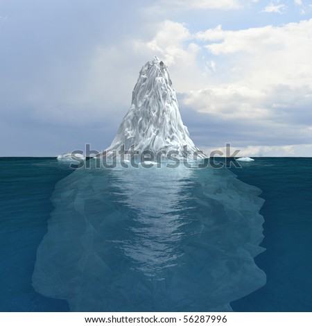 3d render of iceberg visible both underneath and above surface - stock photo
