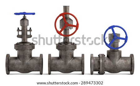 3d render of industrial valves - stock photo