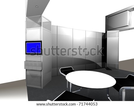 3d render of inside view of a trade exhibition booth - stock photo