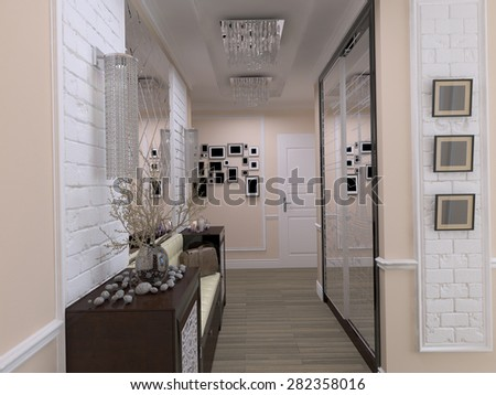 3D render of interior design in style eclecticism - stock photo