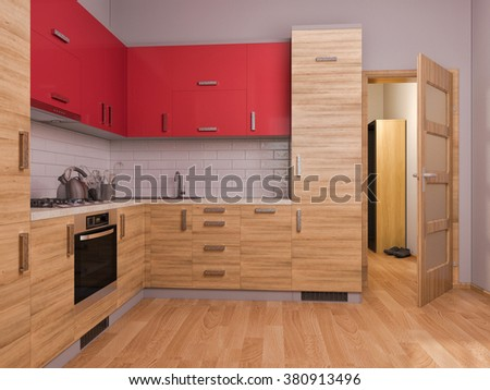 3D render of interior design kitchen in a studio apartment in a modern minimalist style. The illustration shows a corner kitchen in red and wooden color fasades with open door into room - stock photo