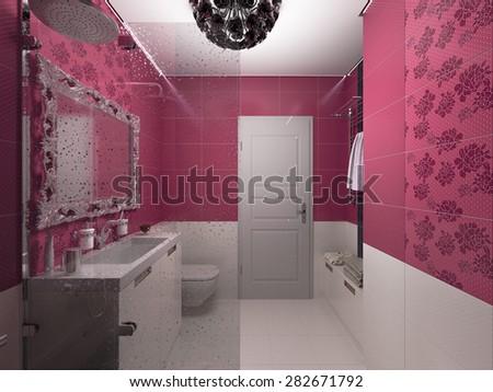 3D render of interior design of a pink bathroom - stock photo