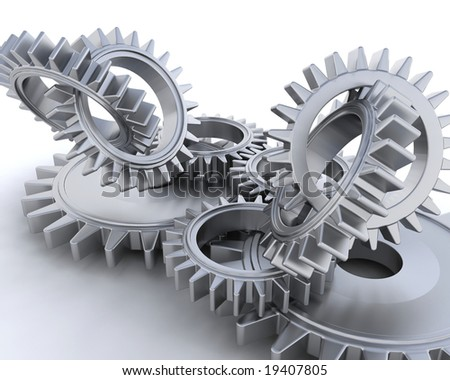 3D render of interlocking gears