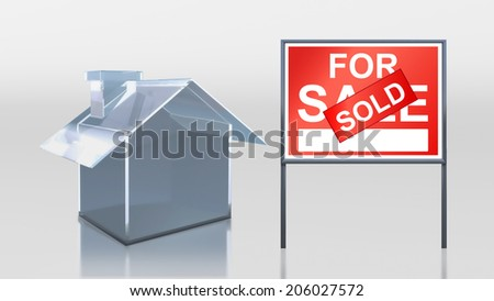 3d render of investment glass house for sale sold - stock photo
