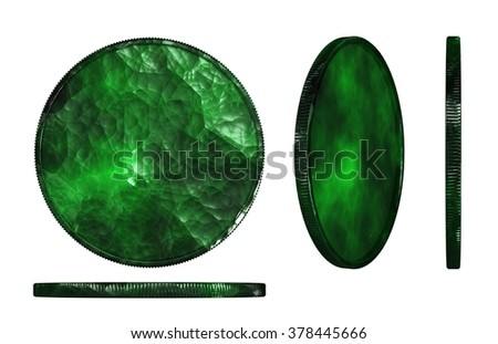 3d render of jade materials medal isolated on white background - stock photo