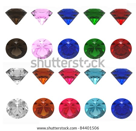 3d render of  jewels of different shades on a white background