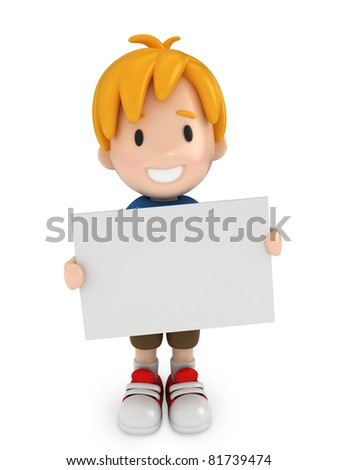 3D Render of Kid and Blank Board - stock photo