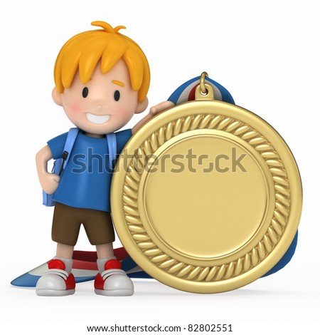 3D Render of Kid with Big Medal - stock photo