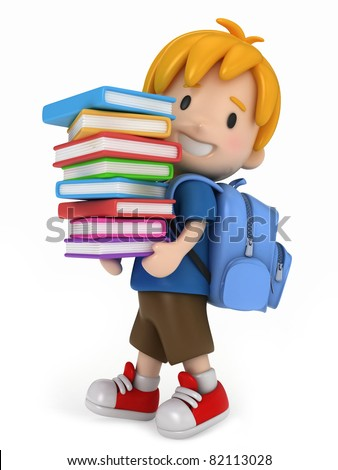3D Render of Kid with Books - stock photo