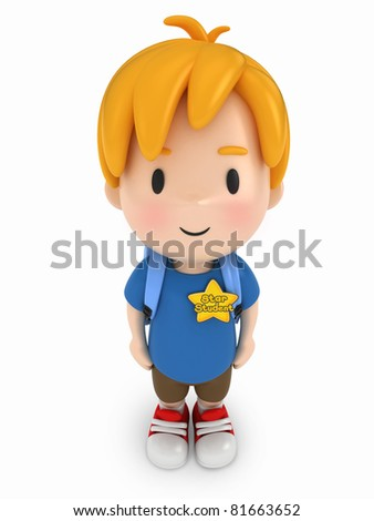 3D Render of Kid with Star Student Award - stock photo