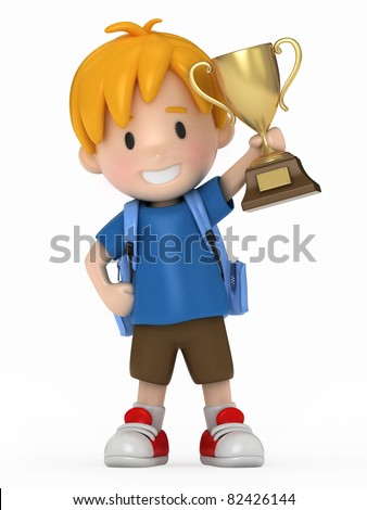 3D Render of Kid with Trophy - stock photo