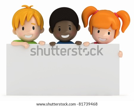 3D Render of Kids and Blank Board - stock photo