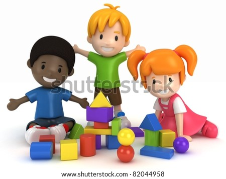 3D Render of kids Playing Building Blocks