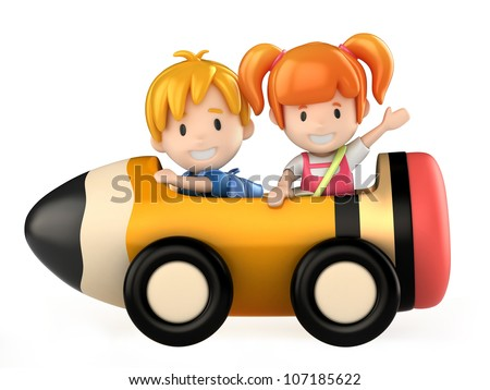 3d render of kids riding a pencil cart - stock photo