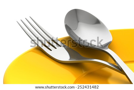 3d render of knife and fork in yellow plate isolated on white background - stock photo