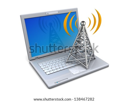 3d render of laptop and antenna wireless technology - stock photo