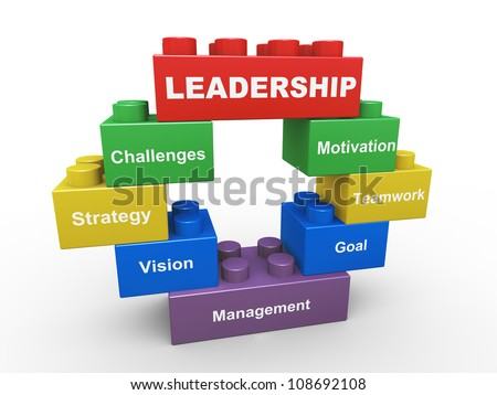 3d render of leadership concept presented with child toys blocks