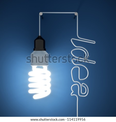 3d render of light bulb idea concept on dark blue background - stock photo