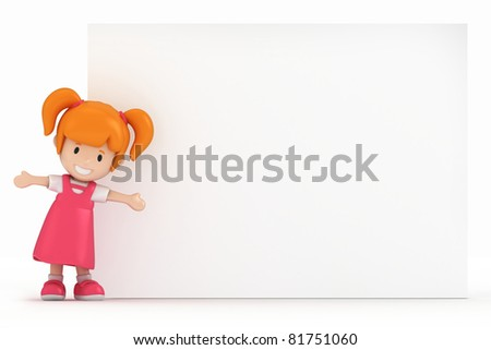 3D Render of Little Girl and Blank Board - stock photo