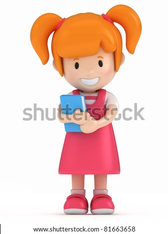 3D Render of Little Girl Holding a Book - stock photo