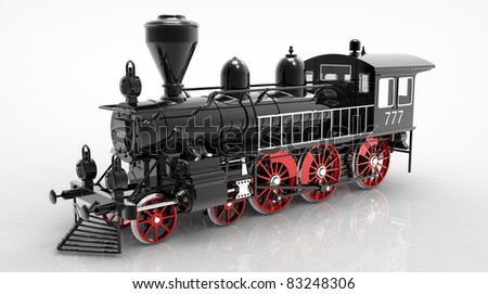 3d render of  locomotive steam on a reflecting surface - stock photo