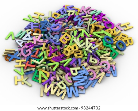 3d render of lot of colorful alphabets