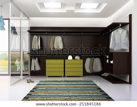 3d render of luxury apartment dressing room interior - stock photo