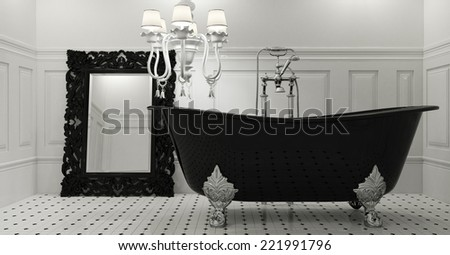 3d render of luxury bathroom in black color - stock photo