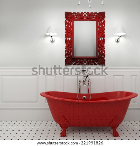 3d render of luxury bathroom in red color - stock photo