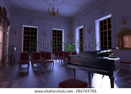 3d render of luxury manor interior - stock photo