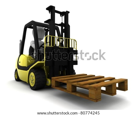 3D Render of Man Driving Fork Lift Truck Isolated on White - stock photo