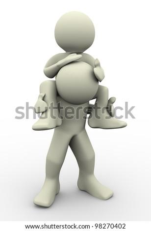 3d render of man giving shoulder ride - stock photo