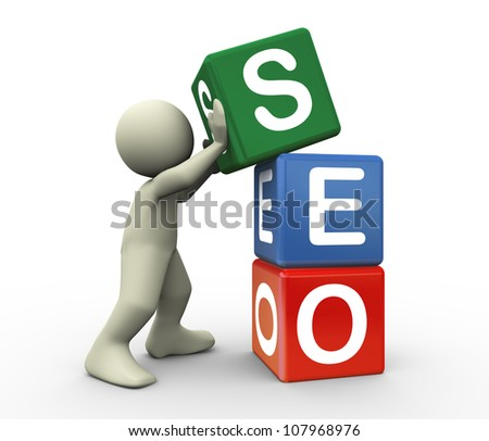 3d render of man placing seo (Search Engine Optimization) cubes. 3d illustration of human character - stock photo