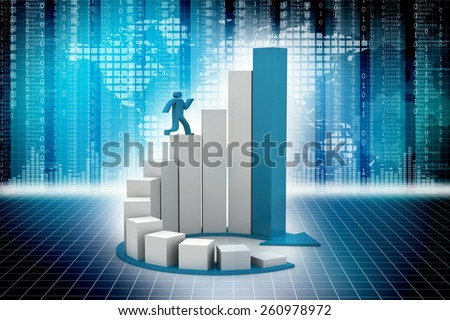 3d render of man running on circular progress bars. 3d illustration of human character