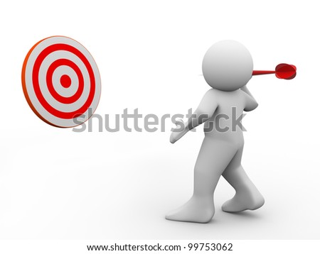 3d render of man throwing dart on target. 3d illustration of human character
