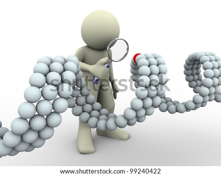 3d render of man with magnifying glass looking at unique element of dna
