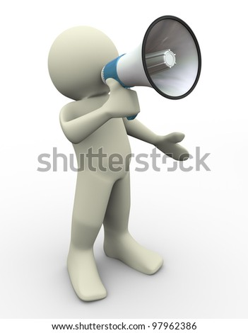 3d render of man with megaphone - stock photo