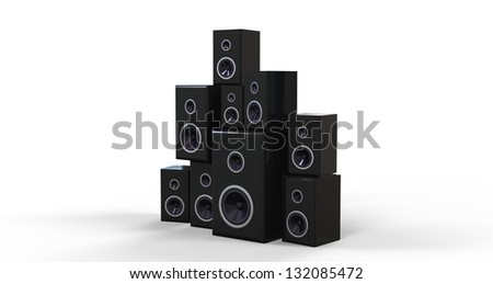 3d render of Many Black Speakers - stock photo