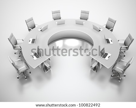 3D render of matte glass conference table with white leather chairs around. - stock photo