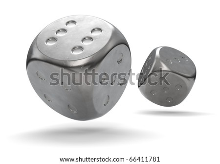 3D render of metal dice rolling at the camera.