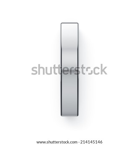 3d render of metallic alphabet letter symbol - I. Isolated on white background - stock photo