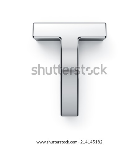 3d render of metallic alphabet letter symbol - T. Isolated on white background - stock photo