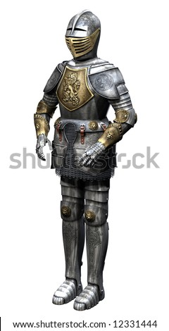 3d render of metallic armor - stock photo