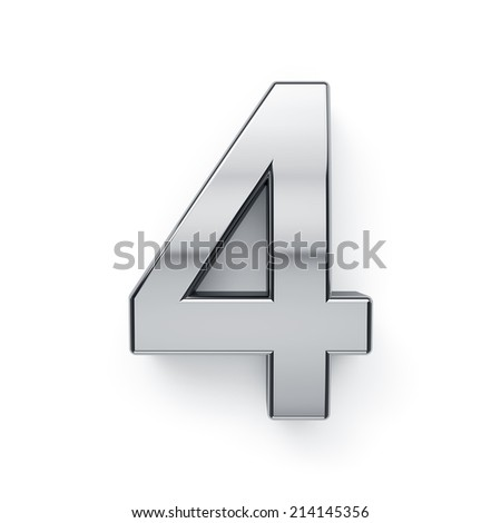 3d render of metallic digit four symbol - 4. Isolated on white background - stock photo