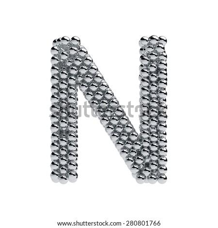 3d render of metallic spheres alphabet letter symbol - N. Isolated on white background - stock photo
