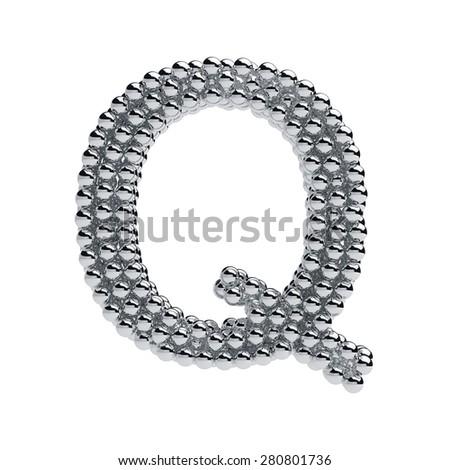3d render of metallic spheres alphabet letter symbol - Q. Isolated on white background - stock photo