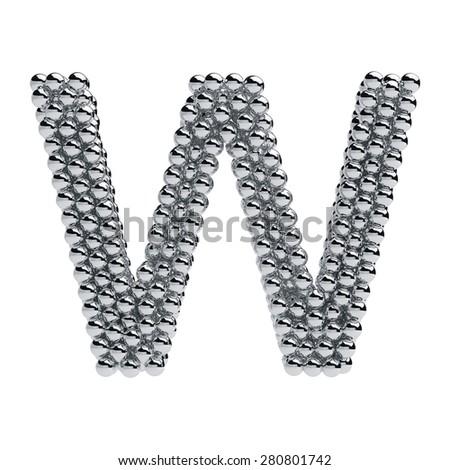 3d render of metallic spheres alphabet letter symbol - W. Isolated on white background - stock photo