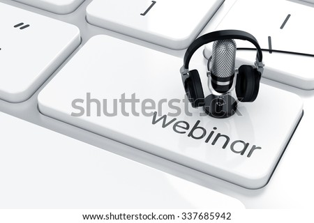 3d render of microphone with headphones on the keyboard. Webinar concept  - stock photo