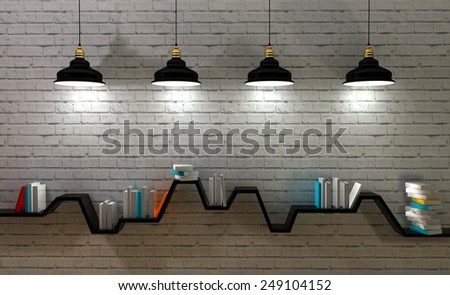 3d render of minimalist shelf, modern art, minimalist design.  - stock photo